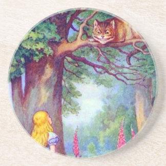 Alicia y el gato de Cheshire a todo color Posavasos Cerveza