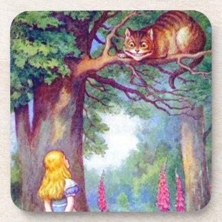 Alicia y el gato de Cheshire a todo color Posavasos De Bebidas