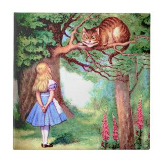 Alicia y el gato de Cheshire en el país de las mar Azulejo Cuadrado Pequeño