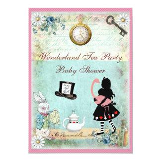 Alicia y fiesta del té rosada de la fiesta de invitación 12,7 x 17,8 cm