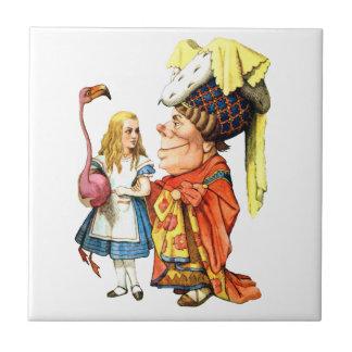 Alicia y la duquesa Discuss Flamingo Croquet Azulejo Cuadrado Pequeño