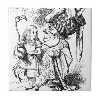 Alicia y la reina roja azulejo de cerámica