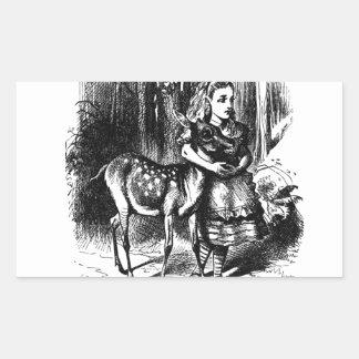 Alicia y un cervatillo pegatina rectangular