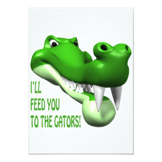 Alimentación enferma usted a los cocodrilos invitación 12,7 x 17,8 cm