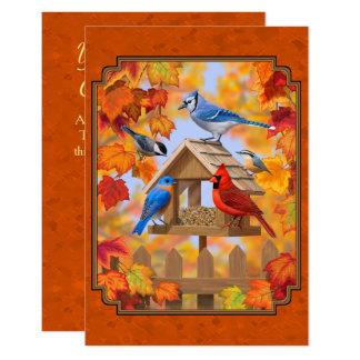 Alimentador del pájaro que recolecta el naranja invitación 8,9 x 12,7 cm