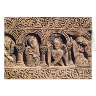 Alivio que representa a santos con un seraph tarjeta de felicitación