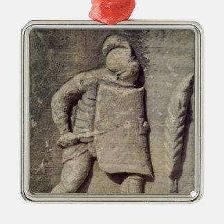 Alivio que representa a un soldado romano adorno navideño cuadrado de metal