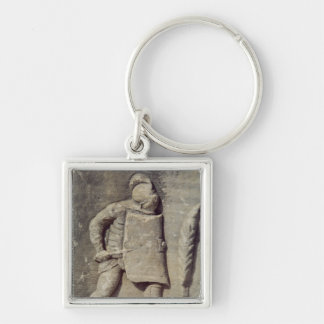 Alivio que representa a un soldado romano llavero cuadrado plateado