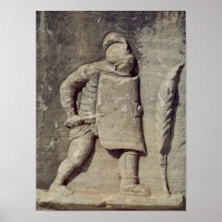 Alivio que representa a un soldado romano póster