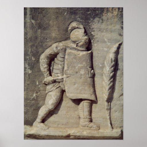 Alivio que representa a un soldado romano posters