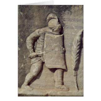 Alivio que representa a un soldado romano tarjeta de felicitación