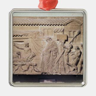 Alivio que representa Dionysus en el hogar de Adorno Navideño Cuadrado De Metal