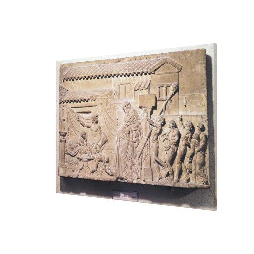 Alivio que representa Dionysus en el hogar de Impresiones En Lona