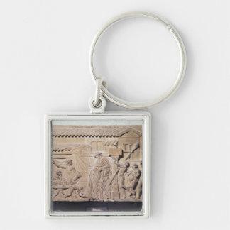Alivio que representa Dionysus en el hogar de Llavero Cuadrado Plateado
