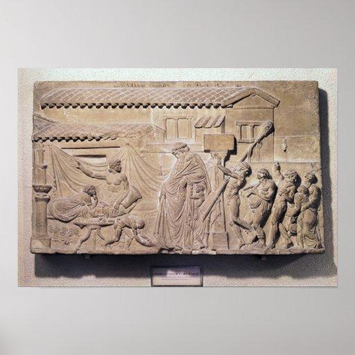 Alivio que representa Dionysus en el hogar de Impresiones