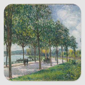 Allée de los árboles de castaña - Alfred Sisley Pegatina Cuadrada
