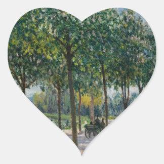 Allée de los árboles de castaña - Alfred Sisley Pegatina En Forma De Corazón