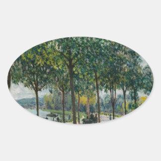 Allée de los árboles de castaña - Alfred Sisley Pegatina Ovalada