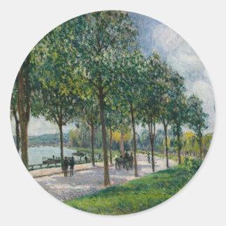 Allée de los árboles de castaña - Alfred Sisley Pegatina Redonda