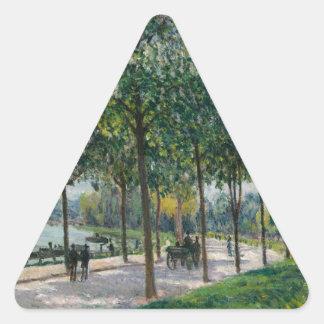 Allée de los árboles de castaña - Alfred Sisley Pegatina Triangular
