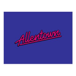 Allentown en magenta tarjetas postales