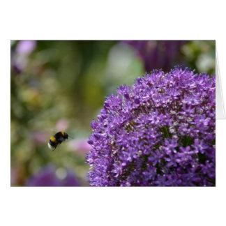Allium y abeja tarjeta de felicitación