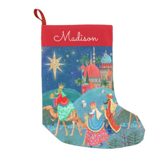 Almacenamiento de tres de los reyes el | navidad calcetín navideño pequeño