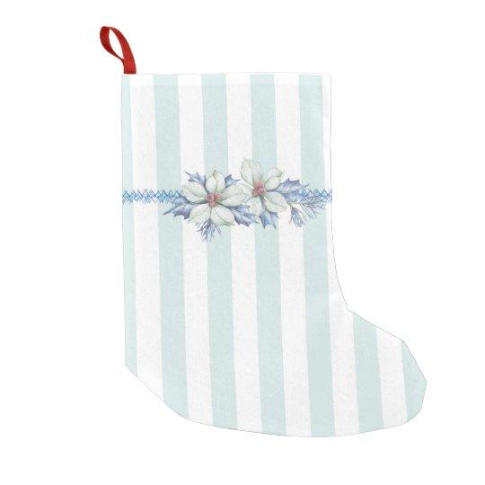 Almacenamiento del navidad azul y blanco calcetín de navidad pequeño