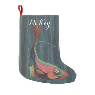Almacenamiento del navidad de los pescados calcetín navideño pequeño