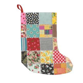 Almacenamiento del navidad del remiendo calcetín navideño pequeño