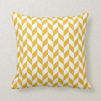 Almohada amarilla y blanca de la mostaza de la
