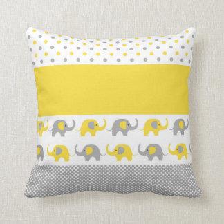 Almohada amarilla y gris del Mini-Elefante
