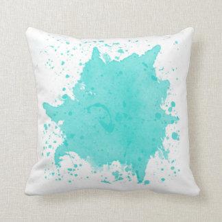 Almohada azul de la salpicadura