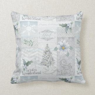 Almohada azul de plata de la decoración del