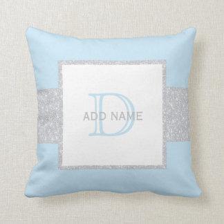 Almohada azul del bebé del falso brillo gris del
