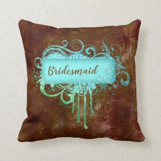 Almohada azul del cobre del vintage de Brown del