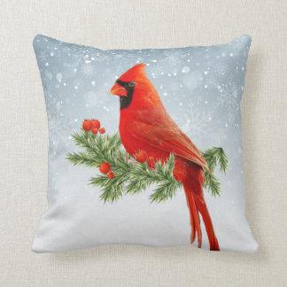 Almohada cardinal roja de las Felices Navidad del