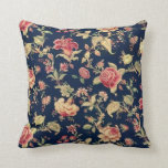 Almohada color de rosa azul floral elegante del