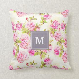 Almohada color de rosa vieja del monograma del