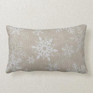 Almohada de la arpillera de los copos de nieve del