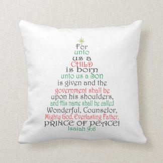 Almohada de la escritura del navidad del 9:6 de