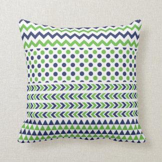 Almohada de la impresión de la verde lima y de los