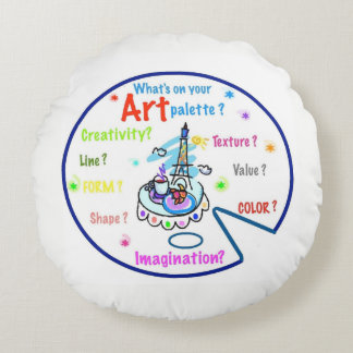 Almohada de la paleta del arte de los profesores cojín redondo