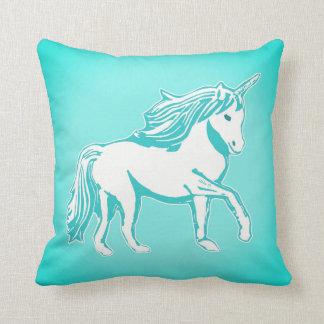 Almohada de la turquesa del arte del unicornio