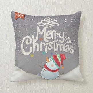 Almohada de las Felices Navidad del muñeco de