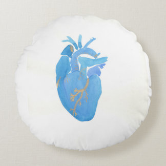 Almohada de tiro anatómica azul del corazón cojín redondo