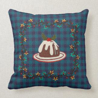 Almohada de tiro azul de la tela escocesa del