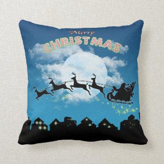 Almohada de tiro azul de Santa del día de fiesta