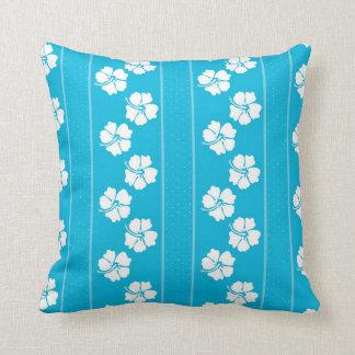 Cojín Decorativo Almohada de tiro azul y blanca del hibisco del