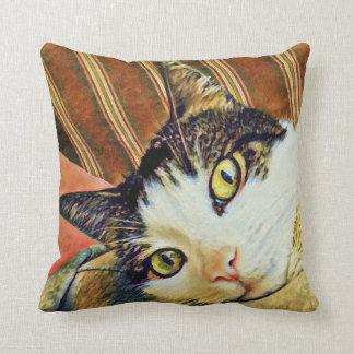 Almohada de tiro colorida del gato